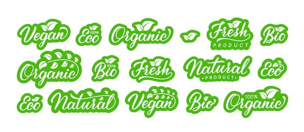 Set van veganistisch, natuurlijk product, biologisch, eco, bio, vers. hand getekende letters