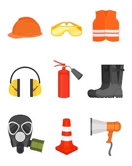 Set van veiligheidsuitrusting. beschermende kleding en laarzen, luidspreker, verkeerskegel, gasmasker en brandblusser