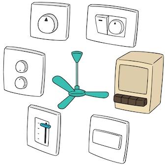 Set van ventilator schakelaar