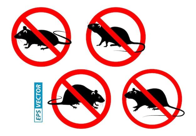 Set van verboden muis in ongediertebestrijdingsconcept