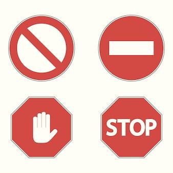 Set van verbodsborden. stop, geen toegang, handblok. vector illustratie.