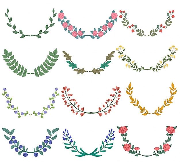 Set van verdelers in de natuur ontwerp kleurrijke bloemen takken vector illustratie