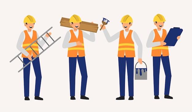 Set van verfpersoneel decorateur in cartoon charactoers met verschillende geïsoleerde vlakke afbeelding