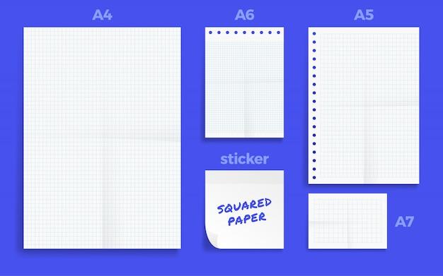 Set van verfrommeld vier standart lege vierkante serie a-formaat papier