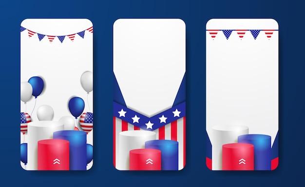 Set van verhalen sociale media sjabloonpromotie voor 4 juli van de amerikaanse onafhankelijkheidsdag