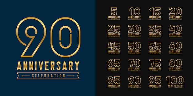 Set van verjaardag logo. gouden verjaardag viering embleemontwerp.