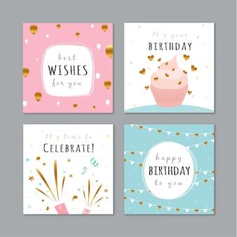 Set van verjaardagskaarten met kleurrijke partij elementen