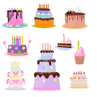 Set van verjaardagstaarten partij elementen op witte achtergrond
