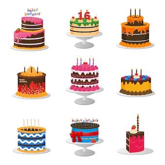 Set van verjaardagstaarten