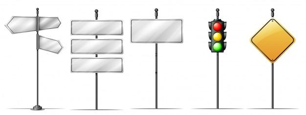 Set van verkeer richting bord