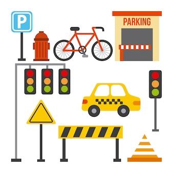 Set van verkeer vervoer teken taxi barrière lichte kegel