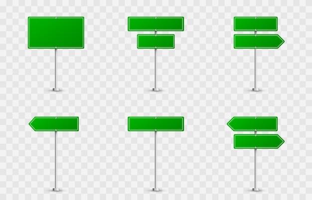 Set van verkeersborden. verkeersborden op een geïsoleerde achtergrond. groene vlaggen png, verkeersborden png, groene borden.