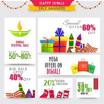 Set van verkoop banners met een flatscreen-objecten voor diwali