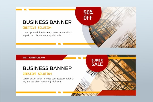 Set van verkoop banners met foto's