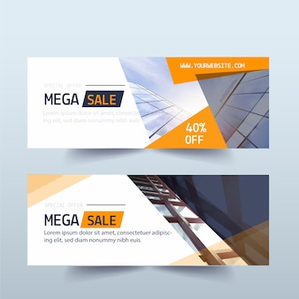 Set van verkoop banners met foto