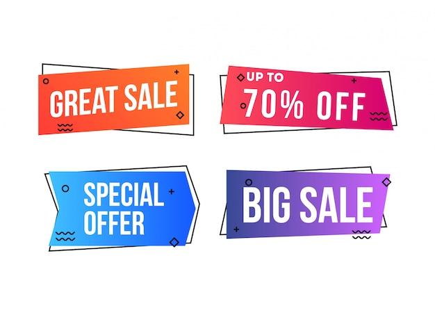 Set van verkoop en korting banner geïsoleerd in wit