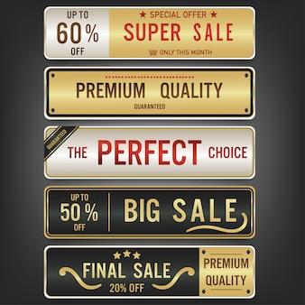 Set van verkoop labels en banner