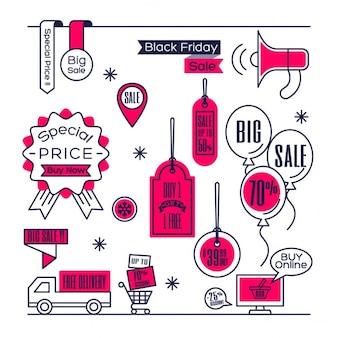 Set van verkoop labels label winkelen ontwerpelementen