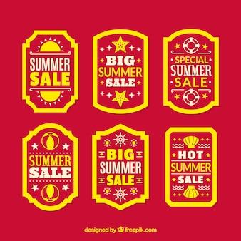 Set van verkoop zomerlabels met vakantie-elementen