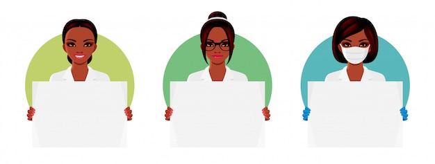 Set van verpleegster of arts. afro-amerikaanse vrouwen dragen witte uniformen