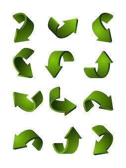 Set van verschillende 3d-pijlen groene kleur. afbeeldingen kromme pijl illustratie