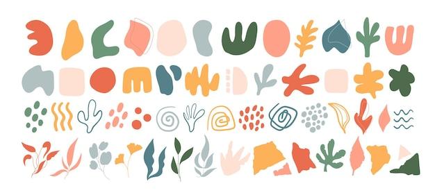 Set van verschillende abstracte vormen. hand getekend trendy vectorillustratie voor patroonontwerp.