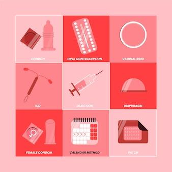 Set van verschillende anticonceptiemethoden