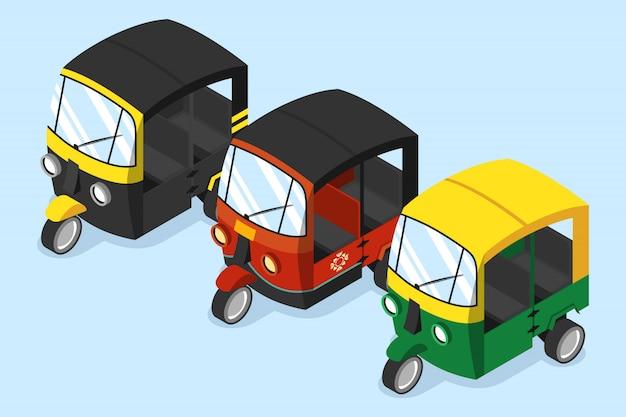 Set van verschillende auto-riksja