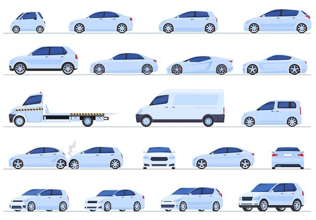 Set van verschillende auto's, sedan, hatchback, suv, stationwagen, sportwagen, superauto's,