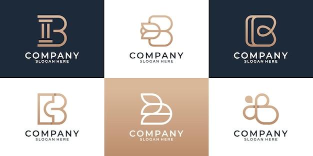 Set van verschillende b logo ontwerpsjabloon