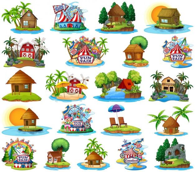 Set van verschillende bangalows en eiland strand thema en pretpark geïsoleerd op een witte achtergrond