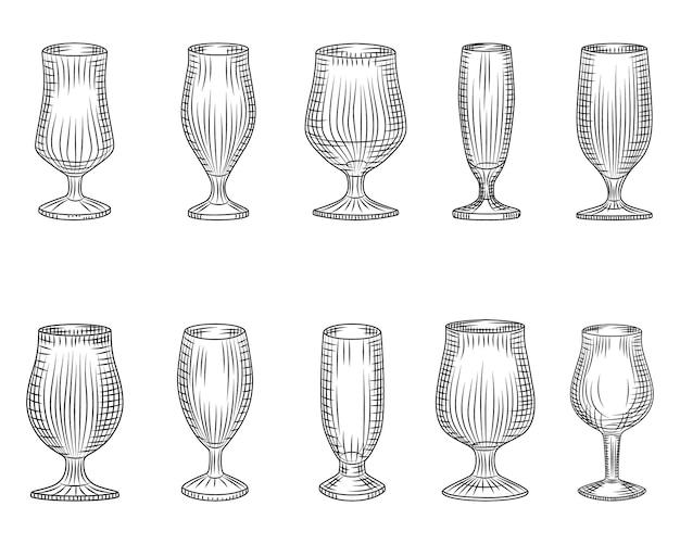 Set van verschillende bierglas. bierkop silhouet.