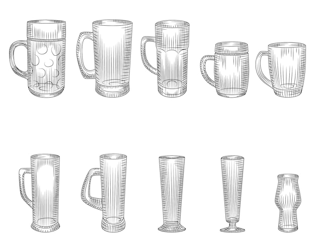 Set van verschillende bierglas en mokken.