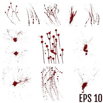 Set van verschillende bloed of verfspatten.