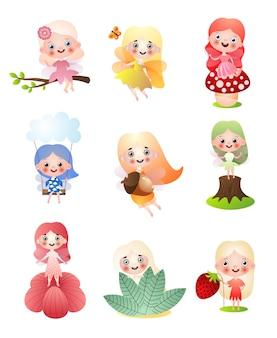 Set van verschillende bosfeeënmeisjes in kleurrijke kleding en wilde voorwerpen