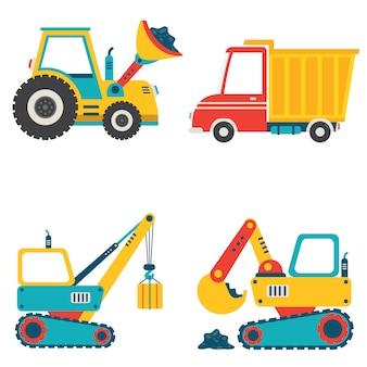 Set van verschillende bouwmachines