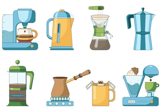 Set van verschillende brouwmethoden van koffiekannen, mokken en waterkokers elektrische koffiemachine