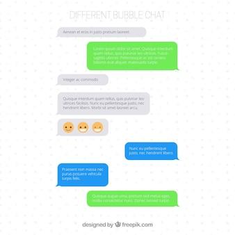 Set van verschillende bubbels chat voor messenger app