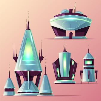 Set van verschillende buitenaardse ruimteschepen of futuristische raketten met antennes, neonlichten cartoon