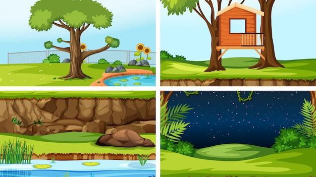 Set van verschillende buitenshuis scènes achtergrond