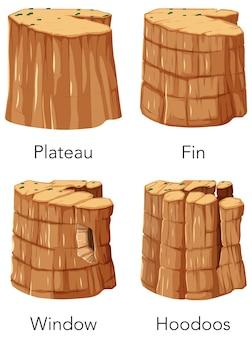 Set van verschillende canyon met naam
