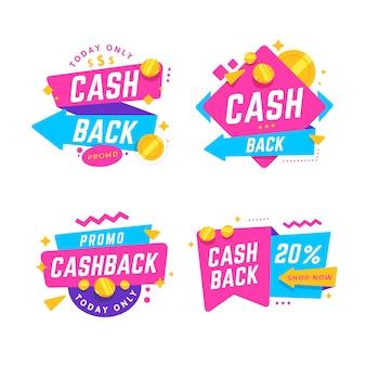 Set van verschillende cashback-labels