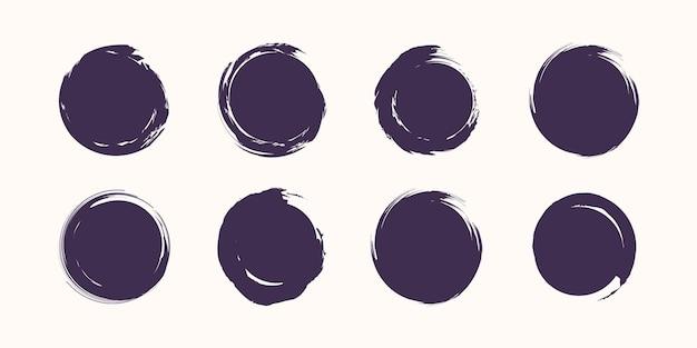 Set van verschillende cirkel penseelstreken