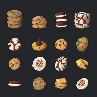 Set van verschillende cookies op geïsoleerde achtergrond.
