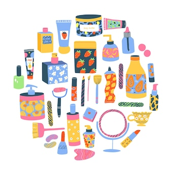 Set van verschillende cosmetica, buizen, flessen, potten, body butter, lotion, creame, lippenstift. verzameling van kleurrijke huidverzorgings- en eco-schoonheidsproducten op wit met bladeren.