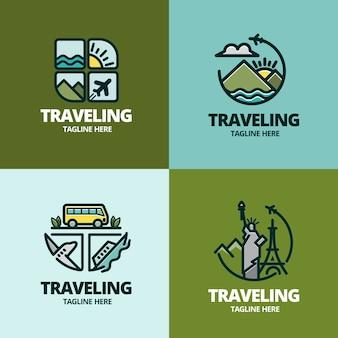 Set van verschillende creatieve logo's voor reizende bedrijven