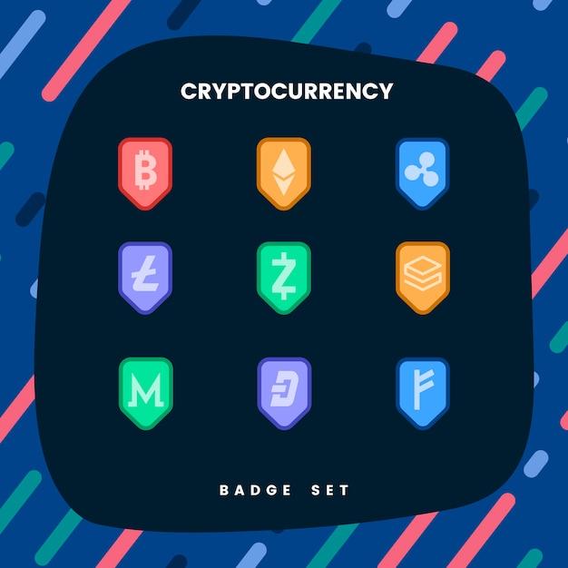 Set van verschillende cryptocurrencies elektronische contant geld symbool vector