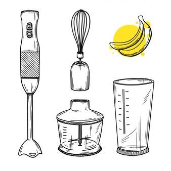 Set van verschillende delen van een blender. hand mixer. illustratie