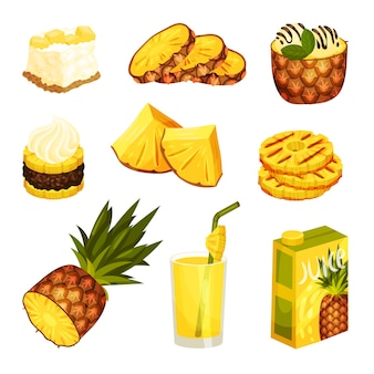 Set van verschillende desserts en drankjes van ananas