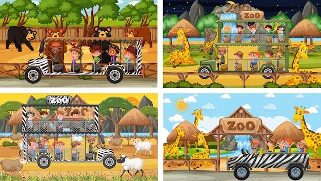 Set van verschillende dieren in safaritaferelen met kinderen